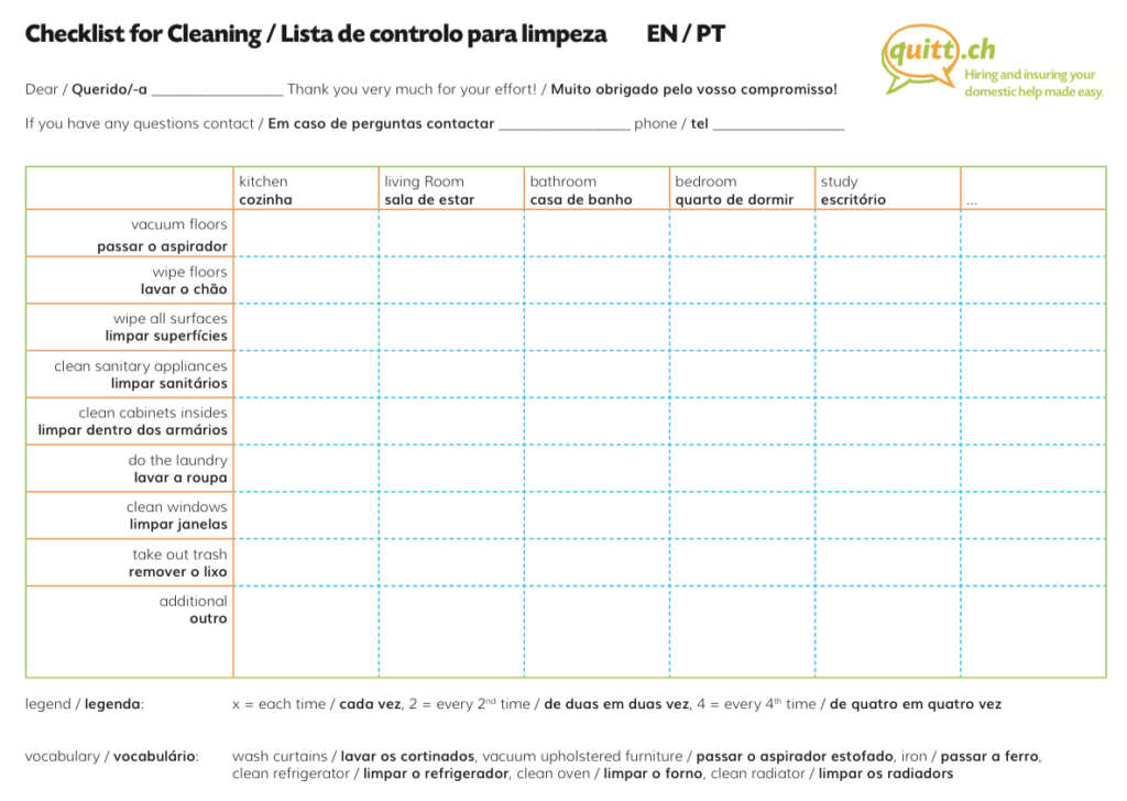 the cleaning checklist the perfect tool for you and your cleaner