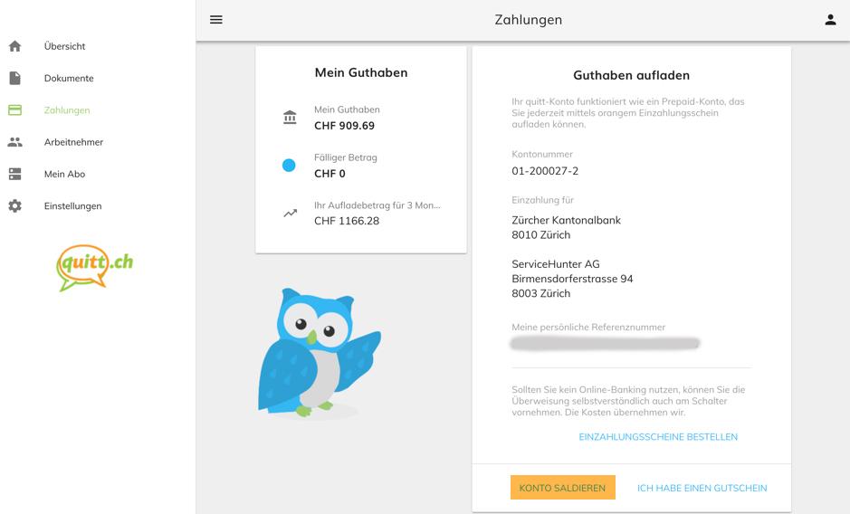 quitt.ch Konto saldieren Kunden Austritts-Checkliste