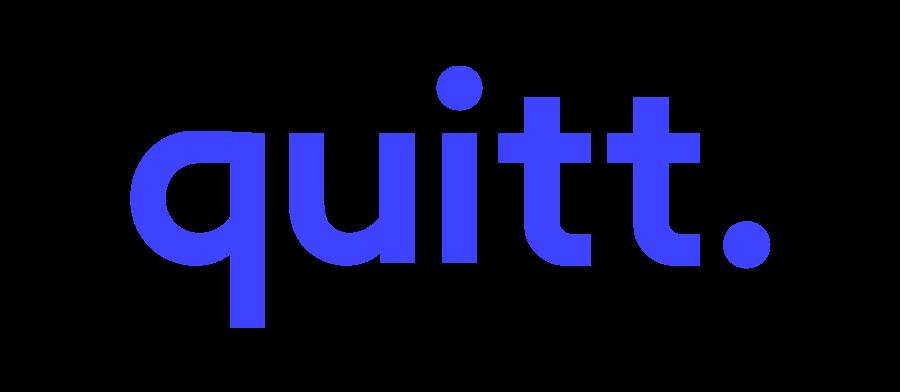quiit. Logo, Logo quitt, quitt, quitt. Logo blau,